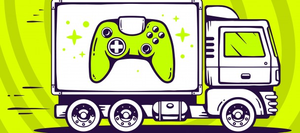 Vector illustration of truck free and fast delivering joystick t
