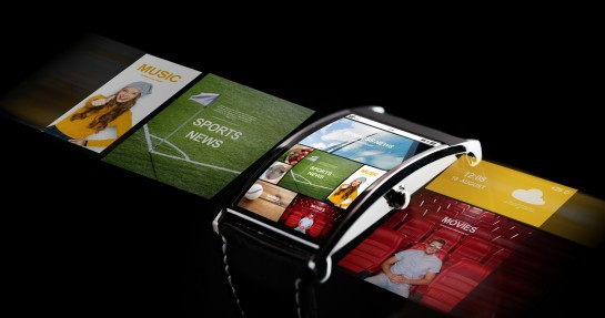 close up of smart watch with media projection