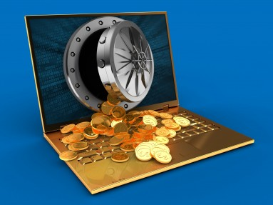 3d illustration of golden computer over blue background with binary data screen and treasure