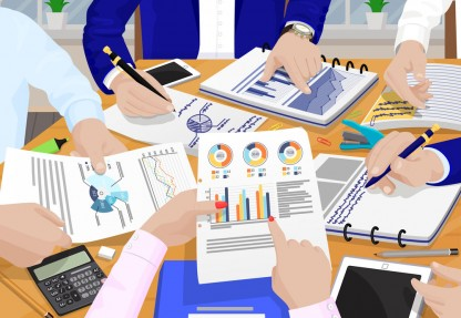 Business People and Papers Vector Illustration