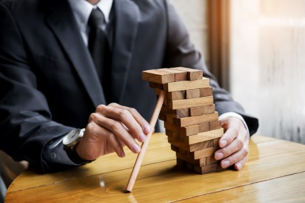 Planning, risk and wealth strategy in business concept, business